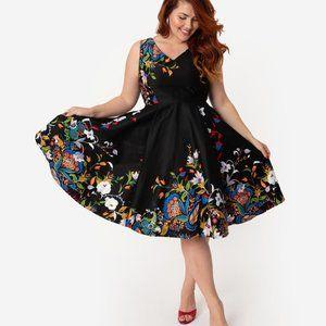 M Eva Rose Rockabilly 50s Border Fit & Flare dress